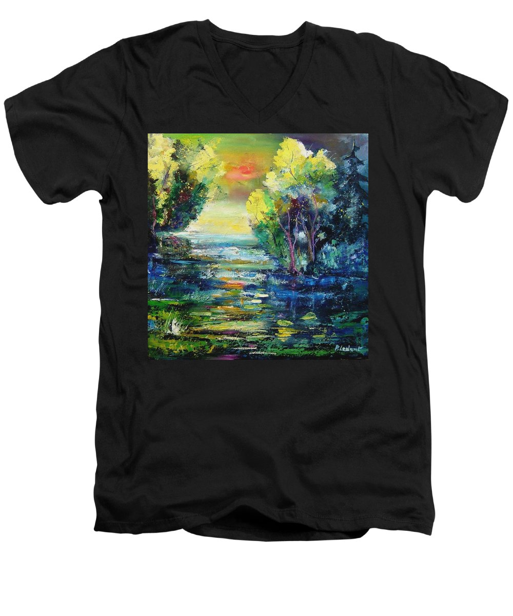 Pond Men's V-Neck T-Shirt featuring the painting Magic Pond by Pol Ledent