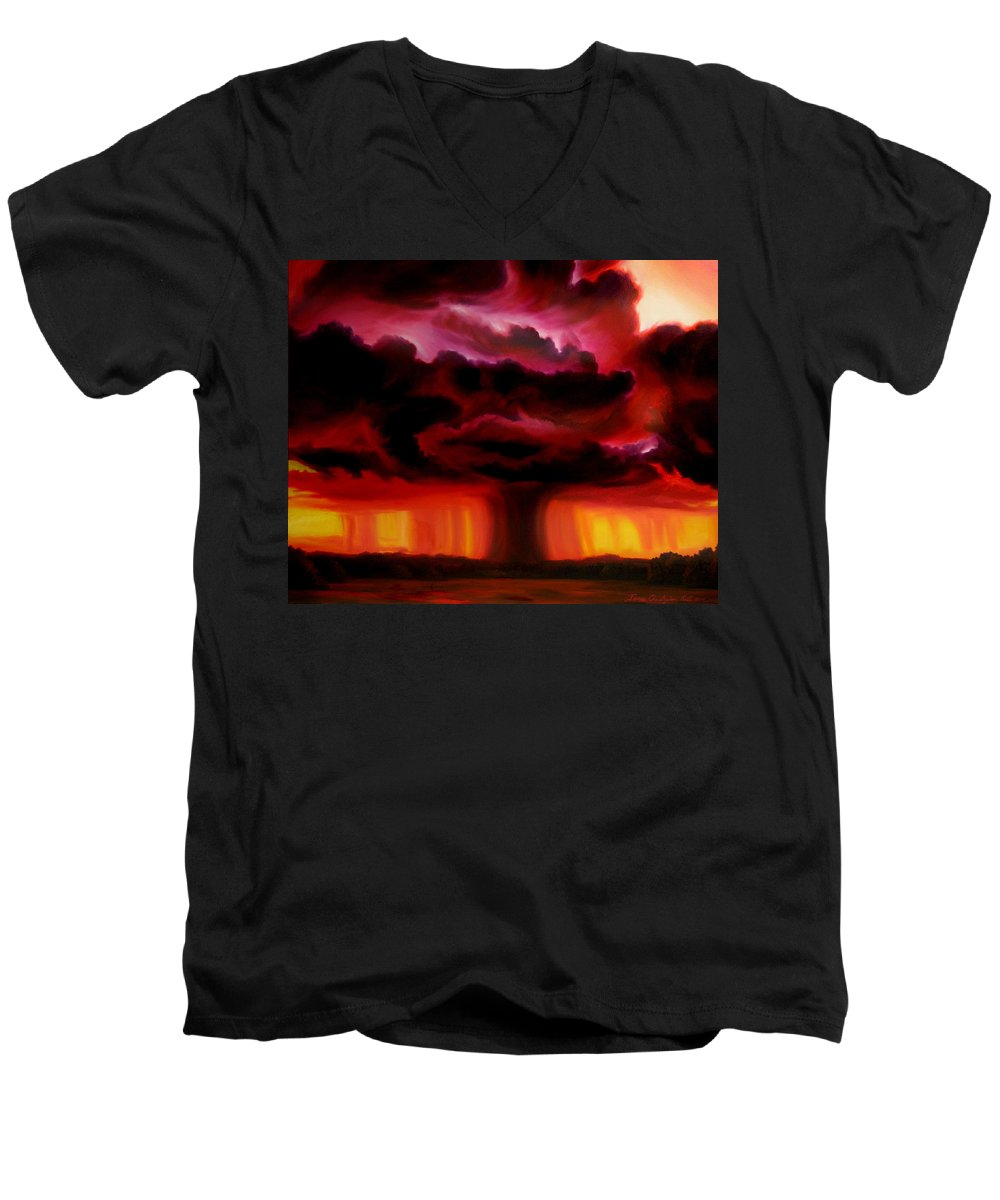 Skyscape Men's V-Neck T-Shirt featuring the painting Microburst by James Christopher Hill