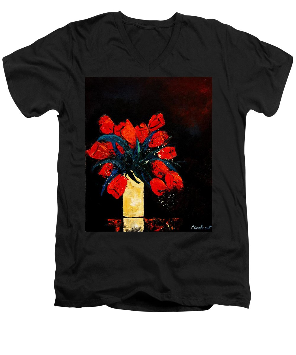 Flowers Men's V-Neck T-Shirt featuring the painting Red Tulips by Pol Ledent
