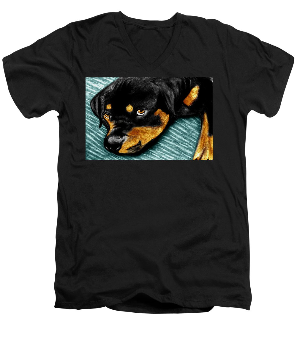 Rot Wilier Men's V-Neck T-Shirt featuring the drawing Rotty by Peter Piatt