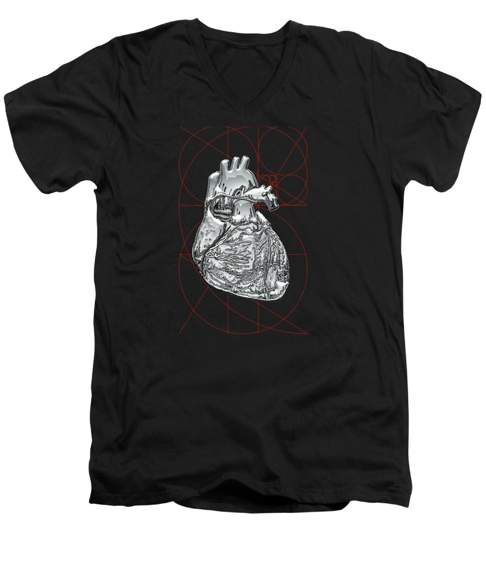 �inner Workings� Collection By Serge Averbukh Men's V-Neck T-Shirt featuring the photograph Silver Human Heart On Black Canvas by Serge Averbukh