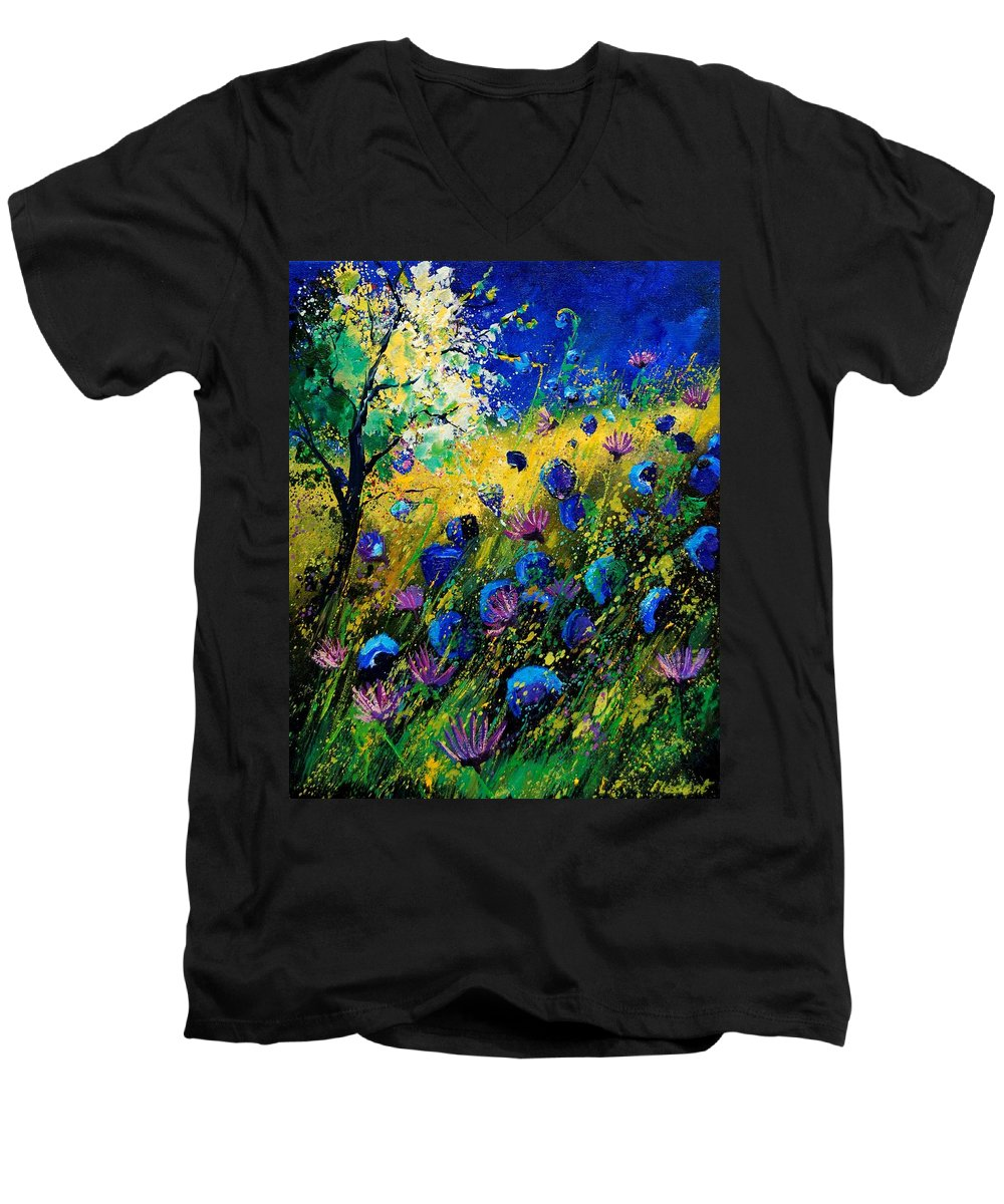 Poppies Men's V-Neck T-Shirt featuring the painting Summer 450208 by Pol Ledent