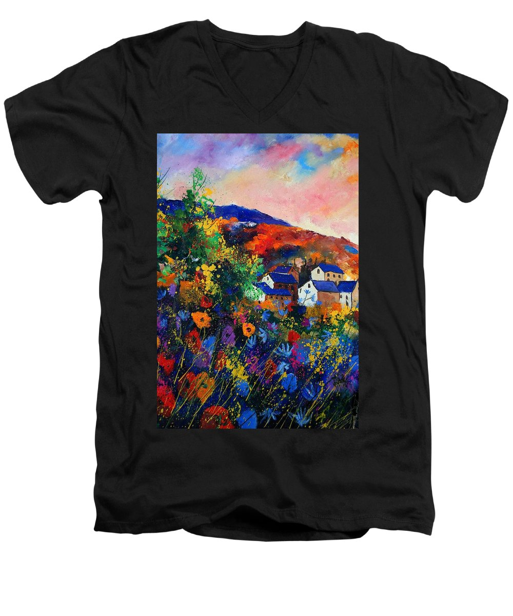 Landscape Men's V-Neck T-Shirt featuring the painting Summer by Pol Ledent