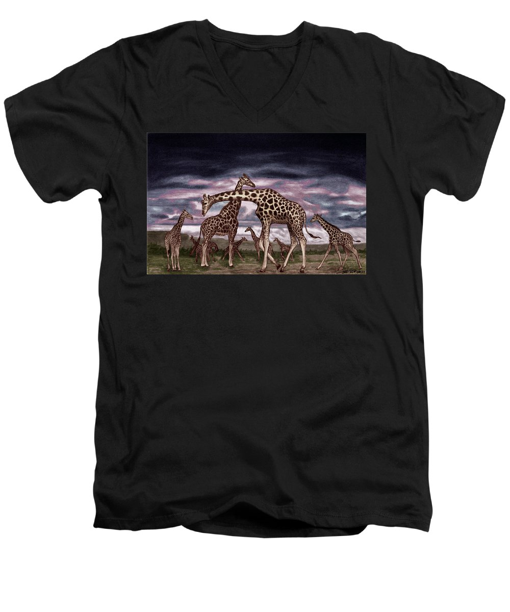 The Herd Men's V-Neck T-Shirt featuring the drawing The Herd by Peter Piatt
