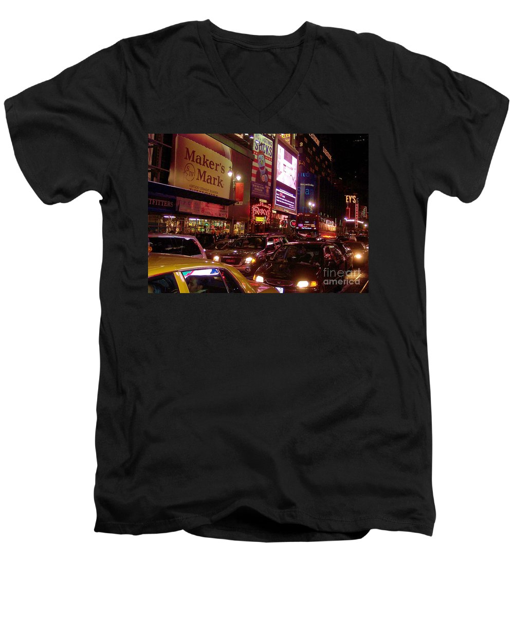New York Men's V-Neck T-Shirt featuring the photograph Times Square Night by Debbi Granruth