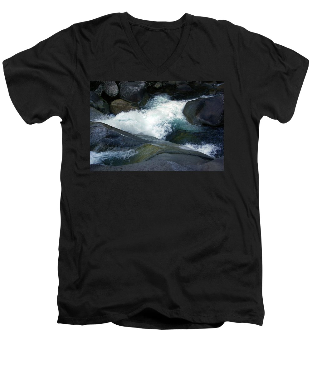 Fineart Men's V-Neck T-Shirt featuring the photograph Tropical Flowing Waters Josephine Falls by Kerryn Madsen- Pietsch