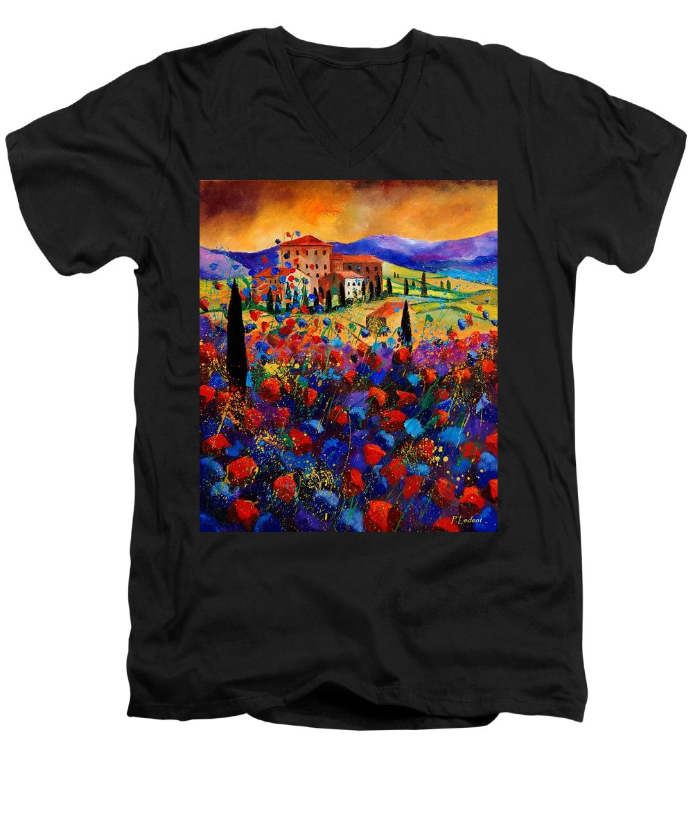 Flowers Men's V-Neck T-Shirt featuring the painting Tuscany Poppies by Pol Ledent