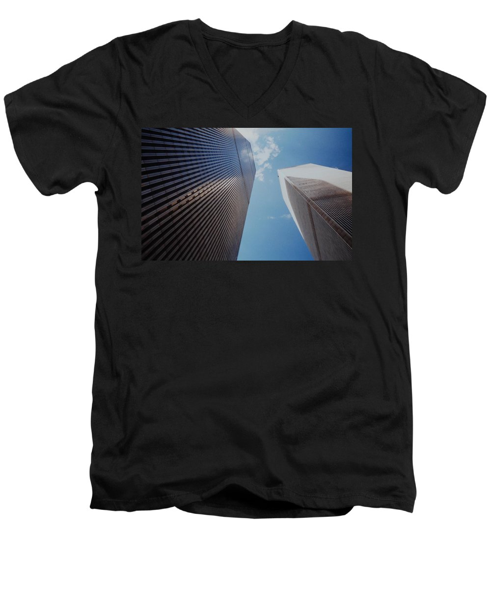 Wtc Men's V-Neck T-Shirt featuring the photograph W T C 1 And 2 by Rob Hans