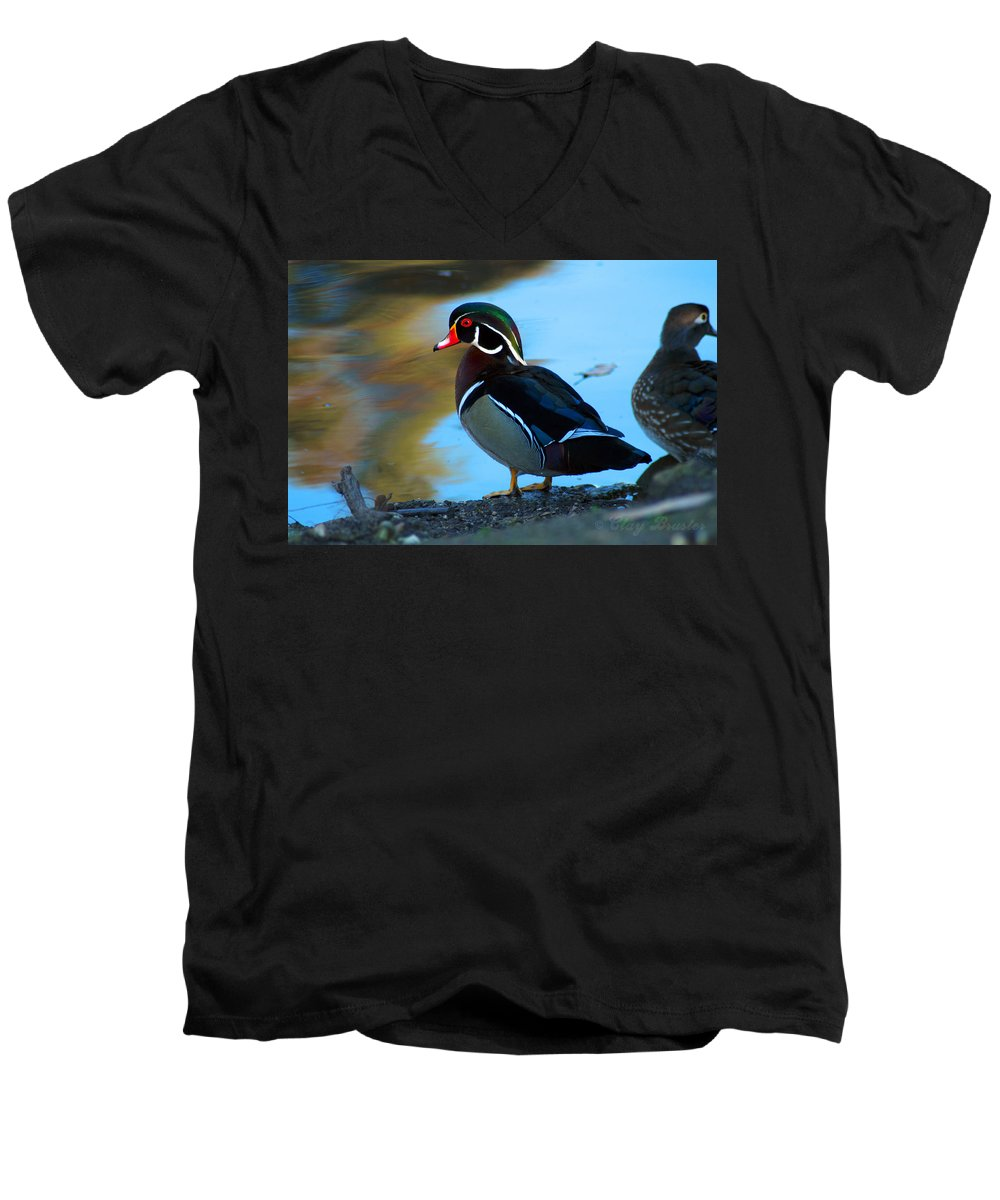 Clay Men's V-Neck T-Shirt featuring the photograph Wood Duck by Clayton Bruster
