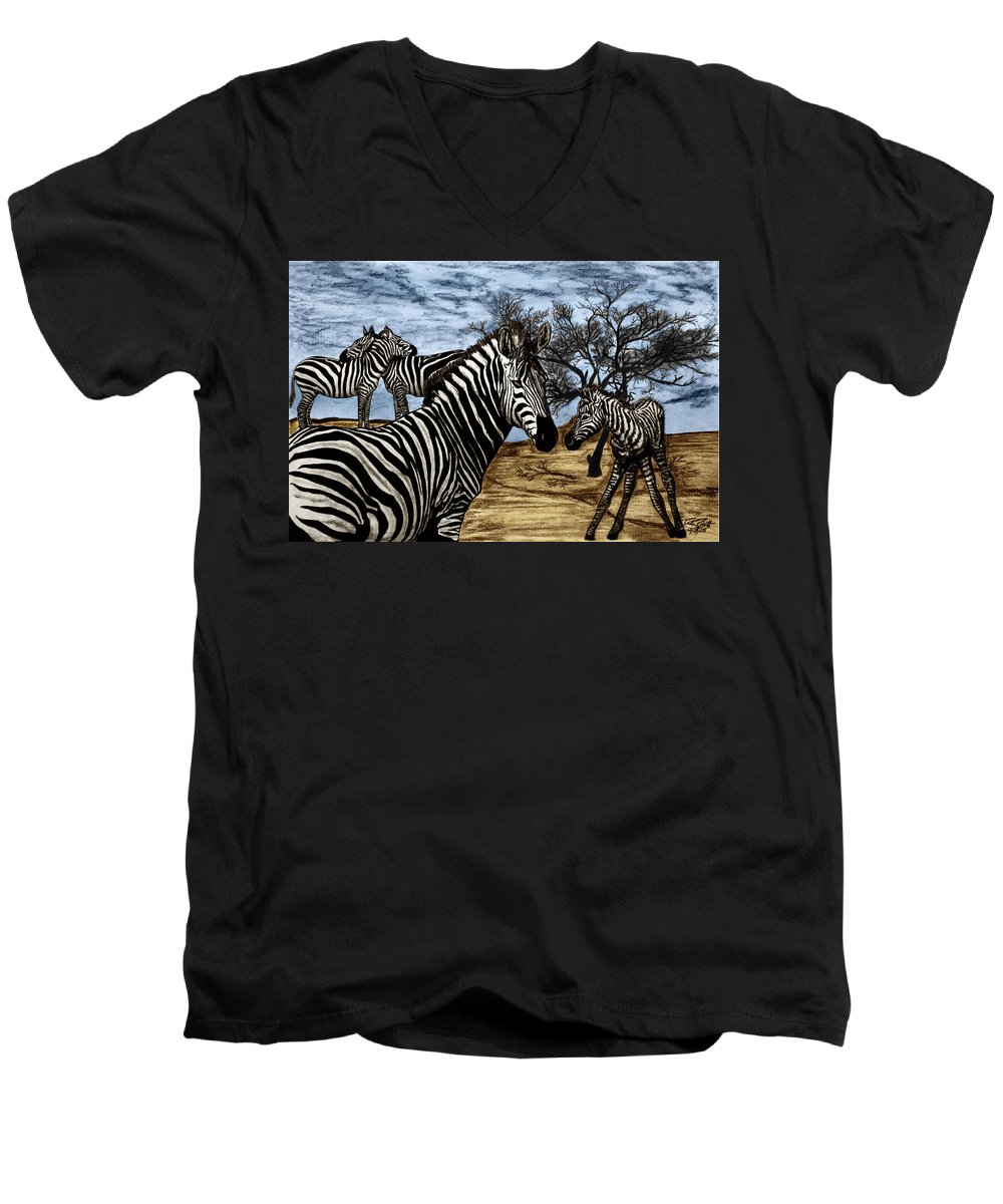 Zebra Outback Men's V-Neck T-Shirt featuring the drawing Zebra Outback by Peter Piatt