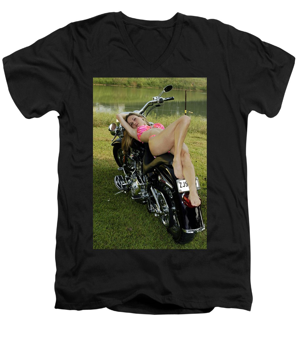 Men's V-Neck T-Shirt featuring the photograph Bikes And Babes by Clayton Bruster