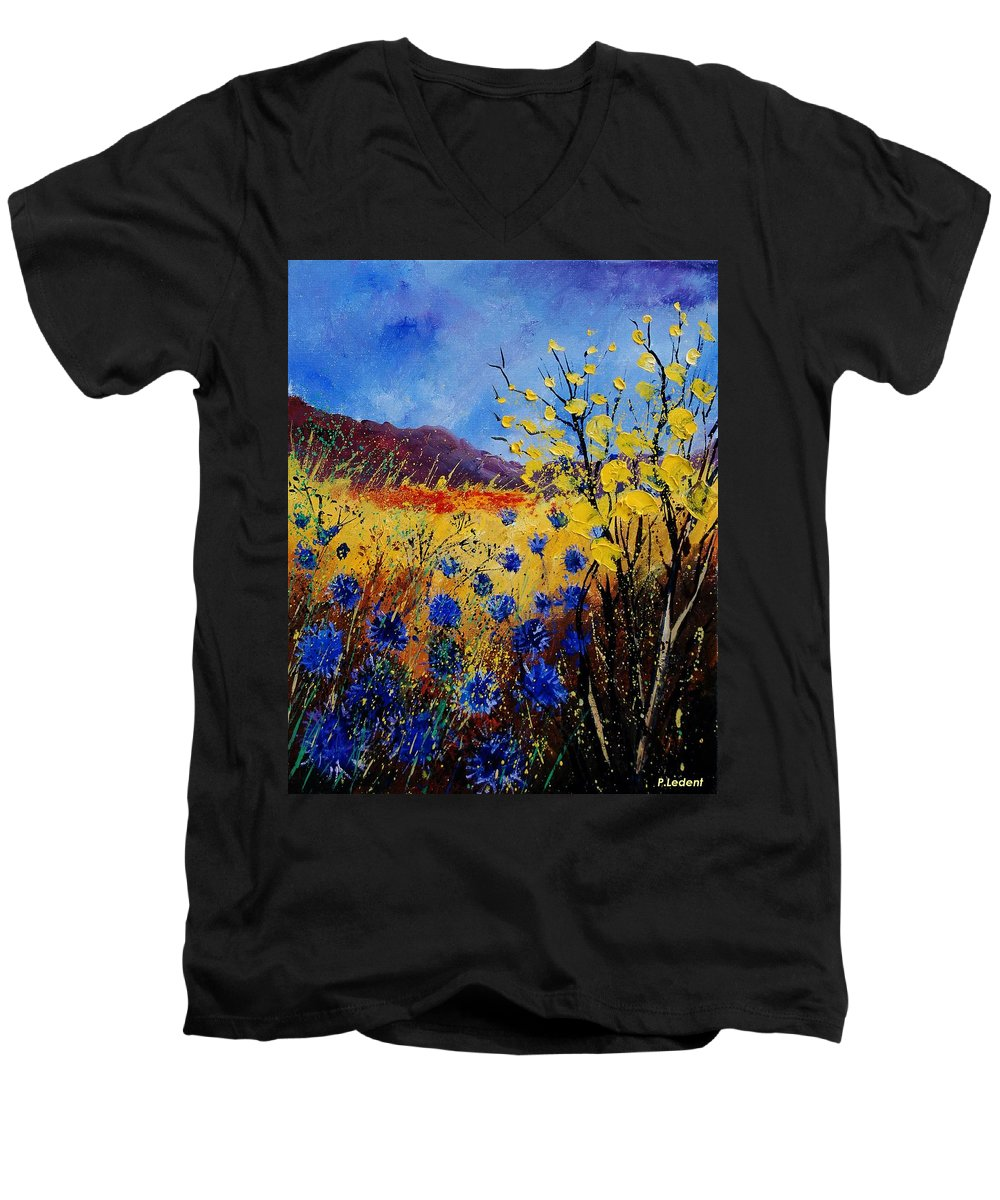 Poppies Flowers Floral Men's V-Neck T-Shirt featuring the painting Blue Cornflowers by Pol Ledent