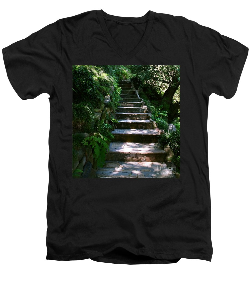 Nature Men's V-Neck T-Shirt featuring the photograph Stone Steps by Dean Triolo