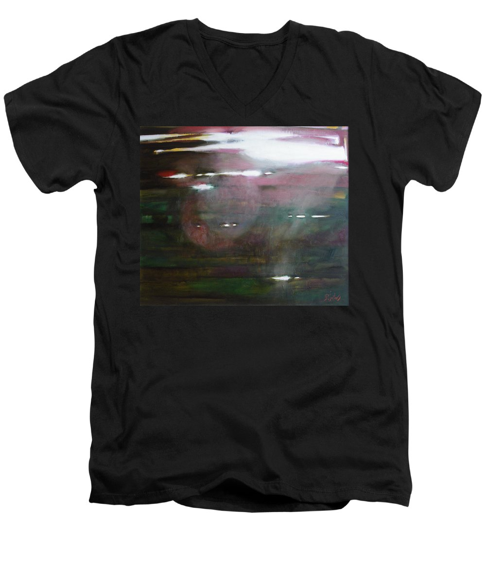 Oil Men's V-Neck T-Shirt featuring the painting The Parallel World by Sergey Ignatenko
