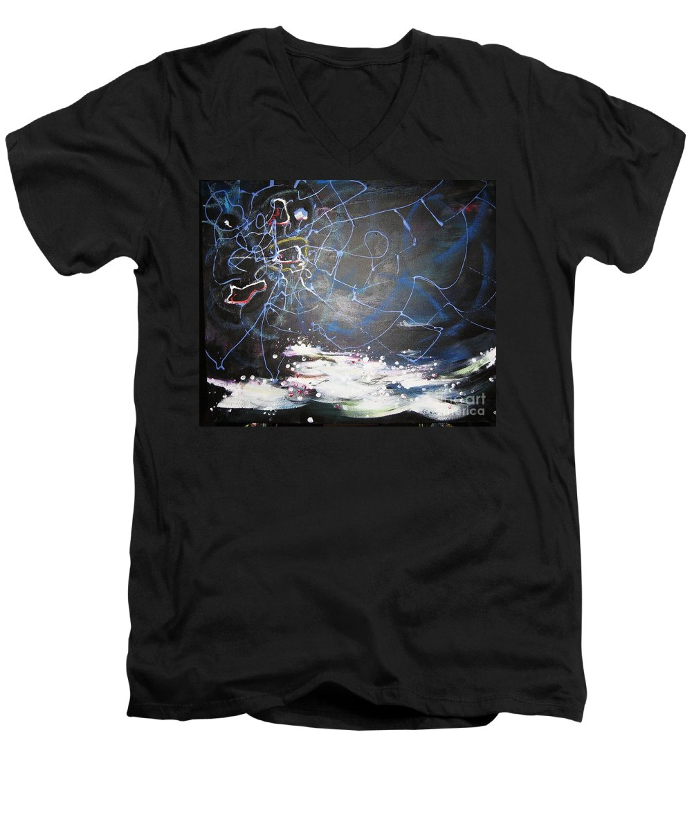Abstract Paintings Men's V-Neck T-Shirt featuring the painting Buckwheat Field by Seon-Jeong Kim