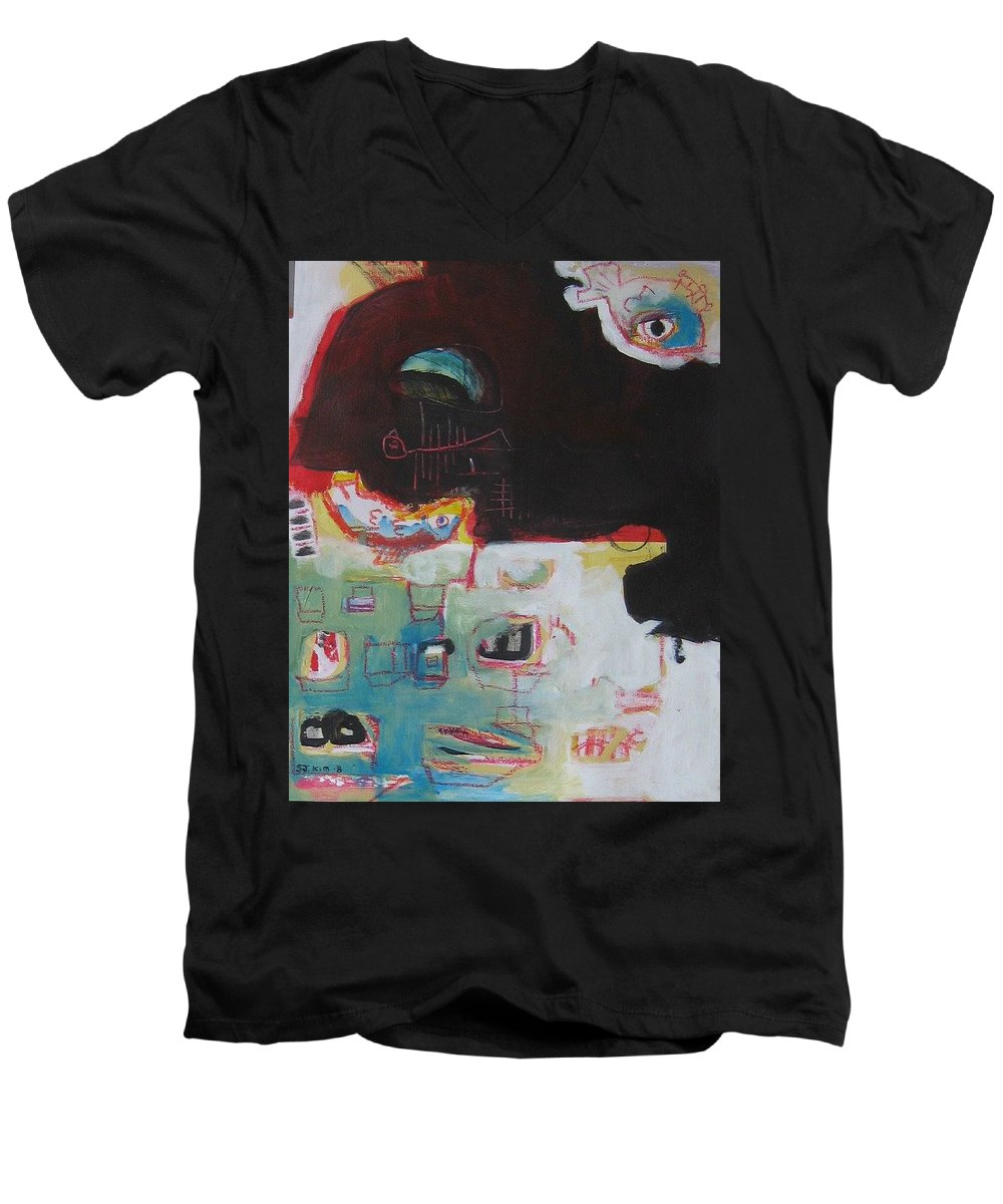 Abstract Paintings Men's V-Neck T-Shirt featuring the painting Little Bay by Seon-Jeong Kim
