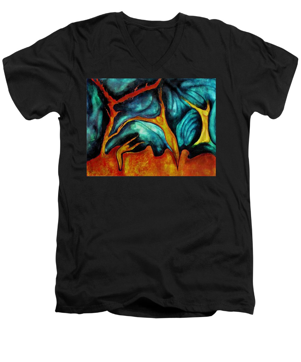 Soul Expression Words Thoughts Mind Connection Men's V-Neck T-Shirt featuring the painting Untitled by Veronica Jackson