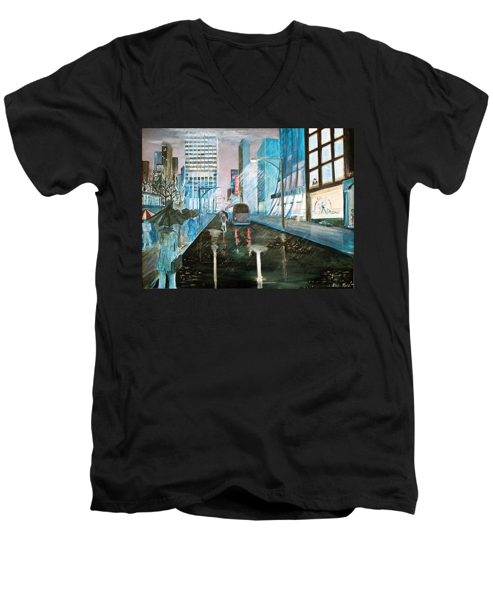 Street Scape Men's V-Neck T-Shirt featuring the painting 42nd Street Blue by Steve Karol