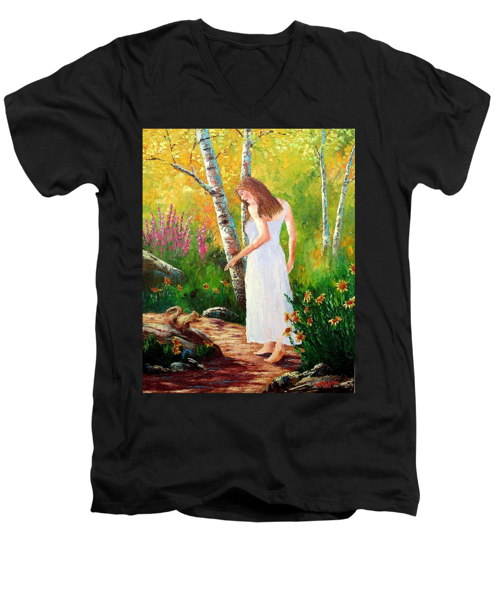 Landscape Men's V-Neck T-Shirt featuring the painting A Friendly Greeting by David G Paul