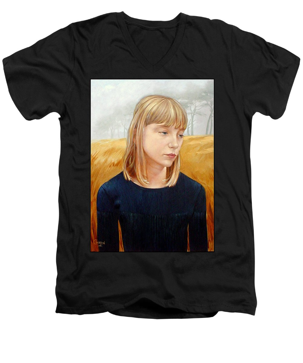 Girl Men's V-Neck T-Shirt featuring the painting A Gang Of Crows by Jerrold Carton