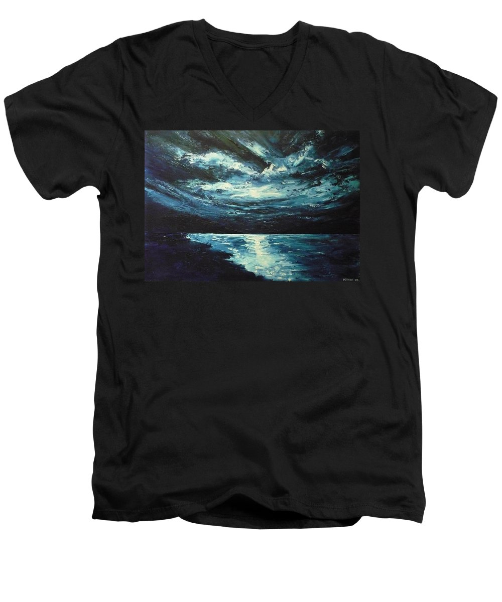 Landscape Men's V-Neck T-Shirt featuring the painting A Milky Way by Ericka Herazo
