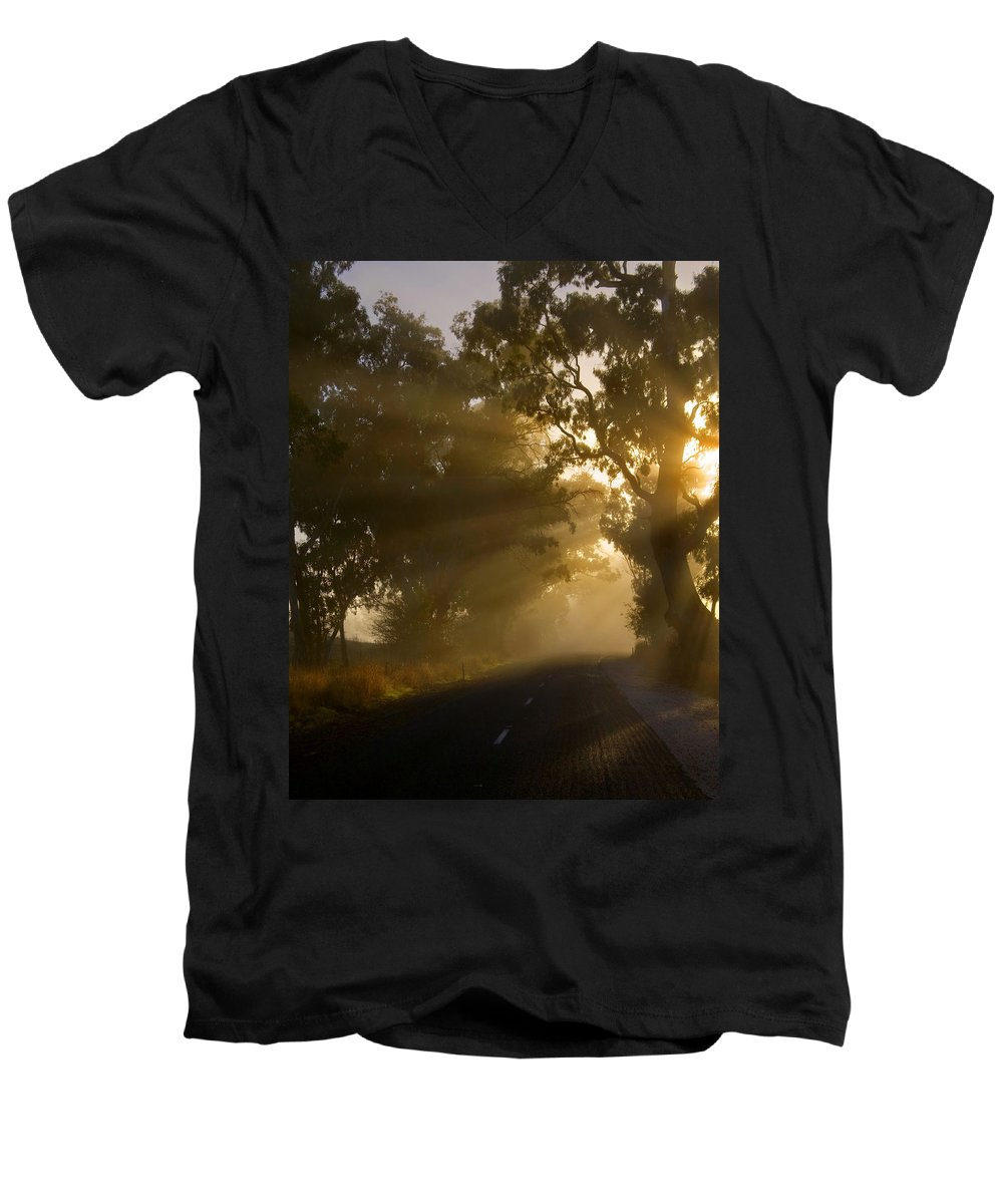 Highway Men's V-Neck T-Shirt featuring the photograph A Road Less Traveled by Mike Dawson