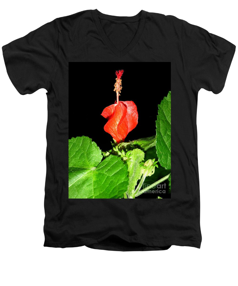 Nature Men's V-Neck T-Shirt featuring the photograph A Swirl Of Red by Lucyna A M Green