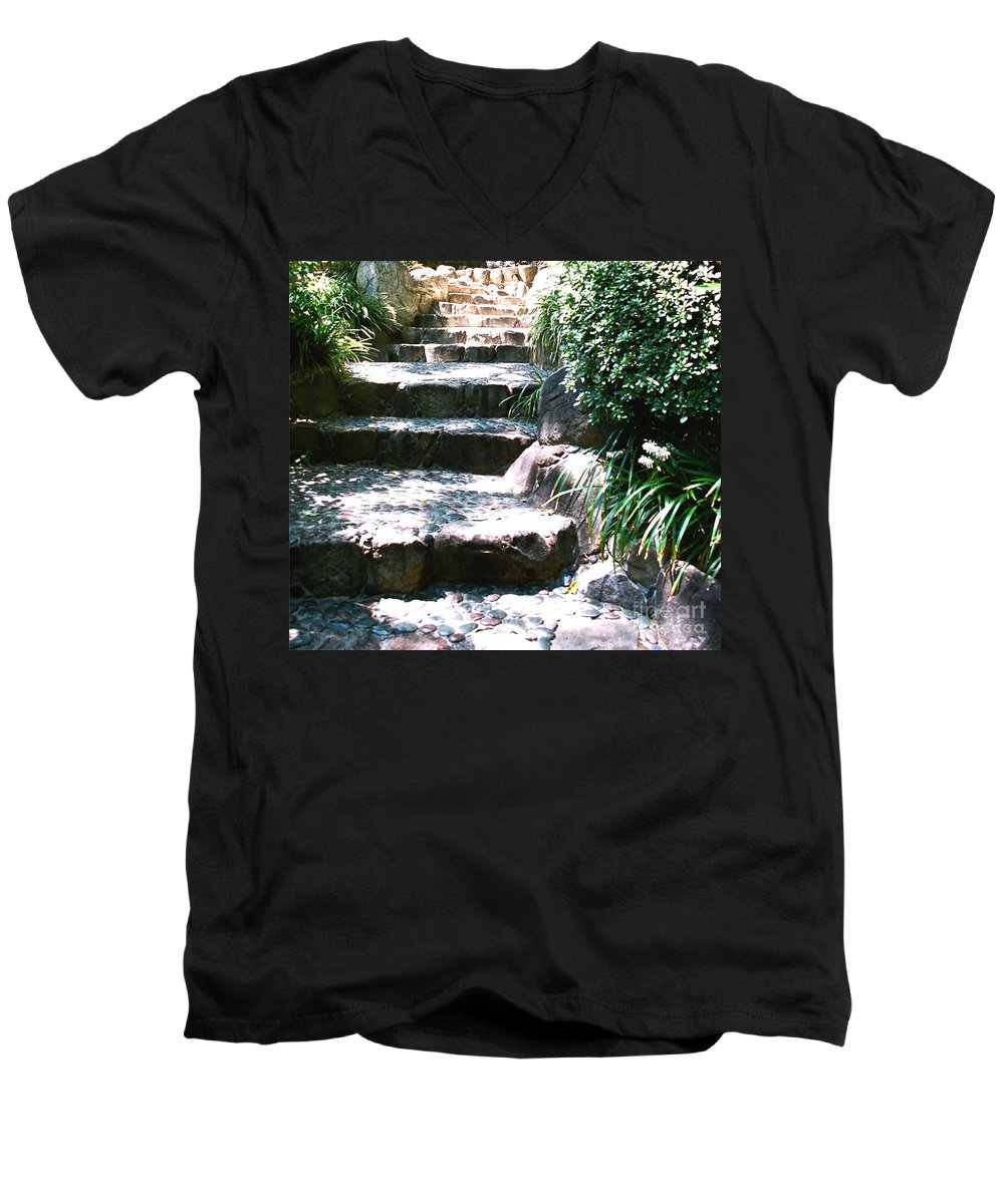 Stairs Men's V-Neck T-Shirt featuring the photograph A Way Out by Dean Triolo