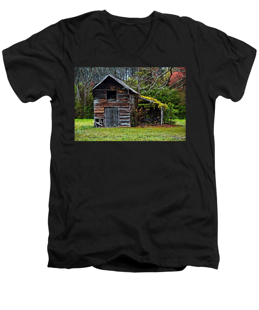 Barn Men's V-Neck T-Shirt featuring the photograph A Yellow Cover by Christopher Holmes