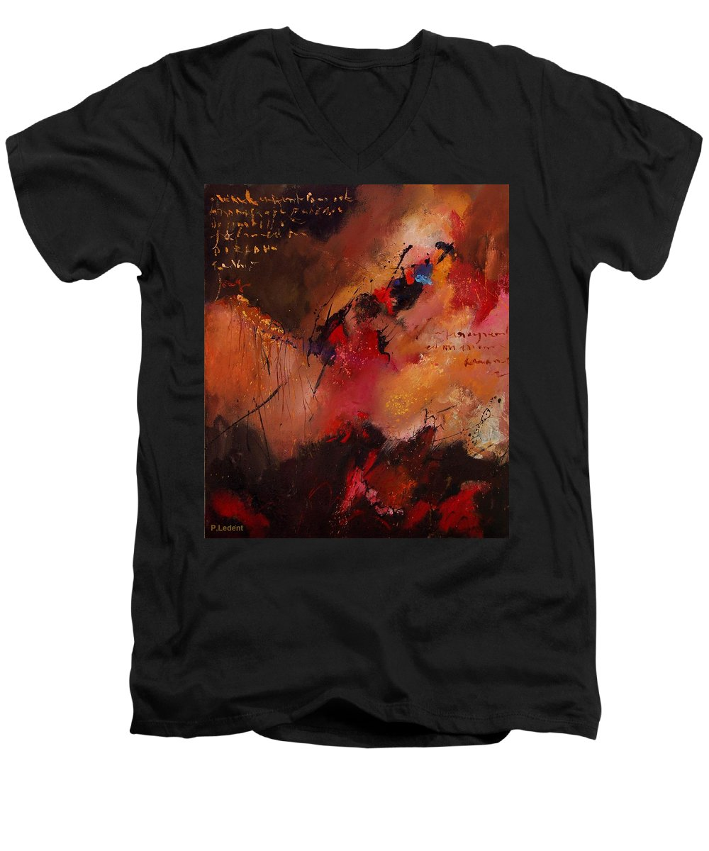 Abstract Men's V-Neck T-Shirt featuring the painting Abstract 0408 by Pol Ledent