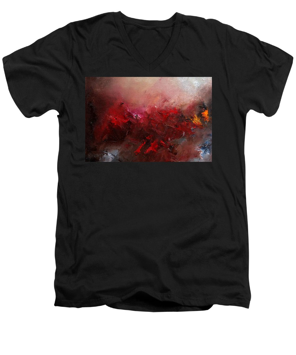 Abstract Men's V-Neck T-Shirt featuring the painting Abstract 056 by Pol Ledent