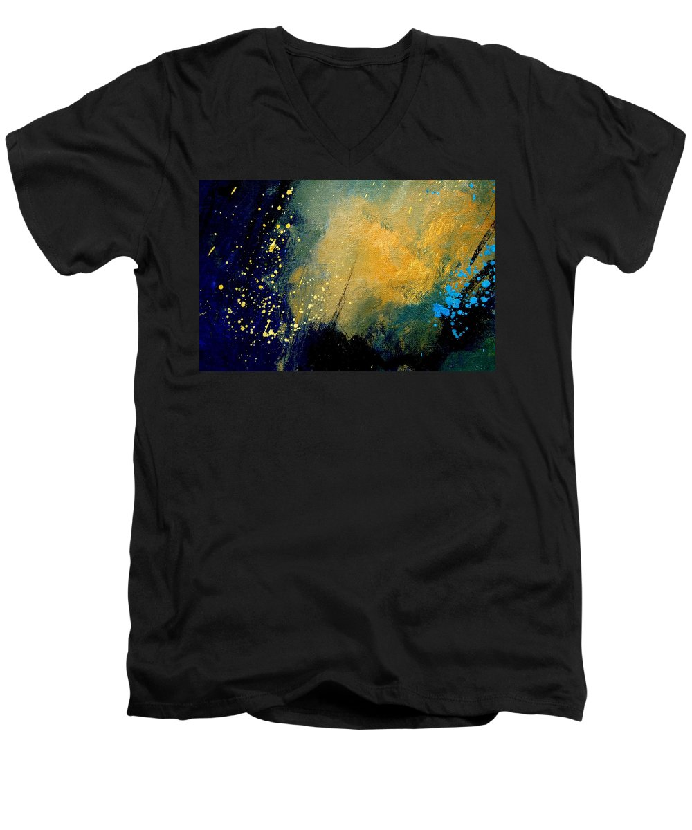 Abstract Men's V-Neck T-Shirt featuring the painting Abstract 061 by Pol Ledent