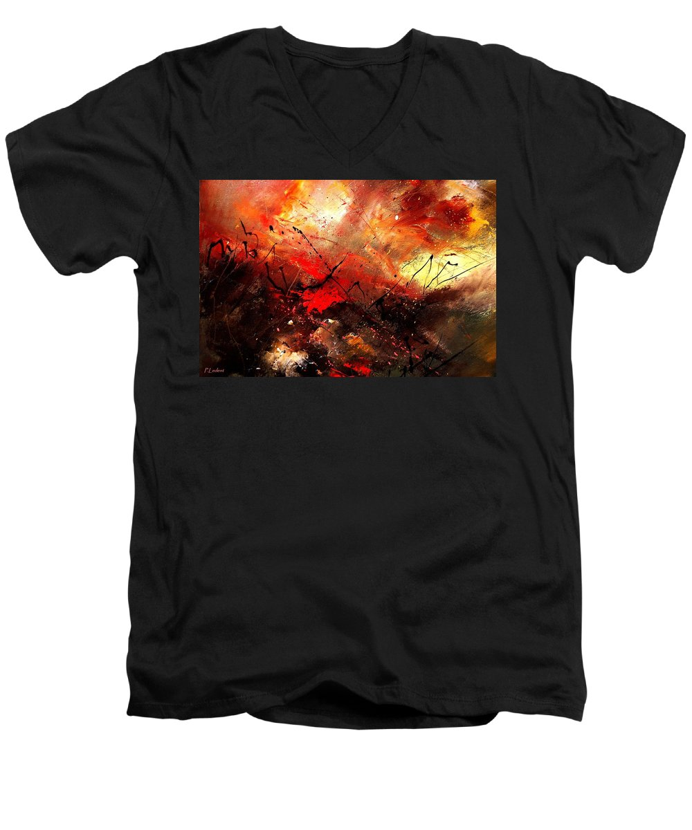 Abstract Men's V-Neck T-Shirt featuring the painting Abstract 100202 by Pol Ledent