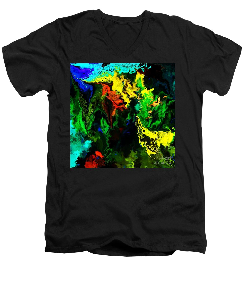 Abstract Men's V-Neck T-Shirt featuring the digital art Abstract 2-23-09 by David Lane