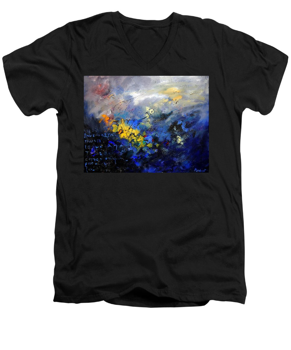 Abstract Men's V-Neck T-Shirt featuring the painting Abstract 970208 by Pol Ledent