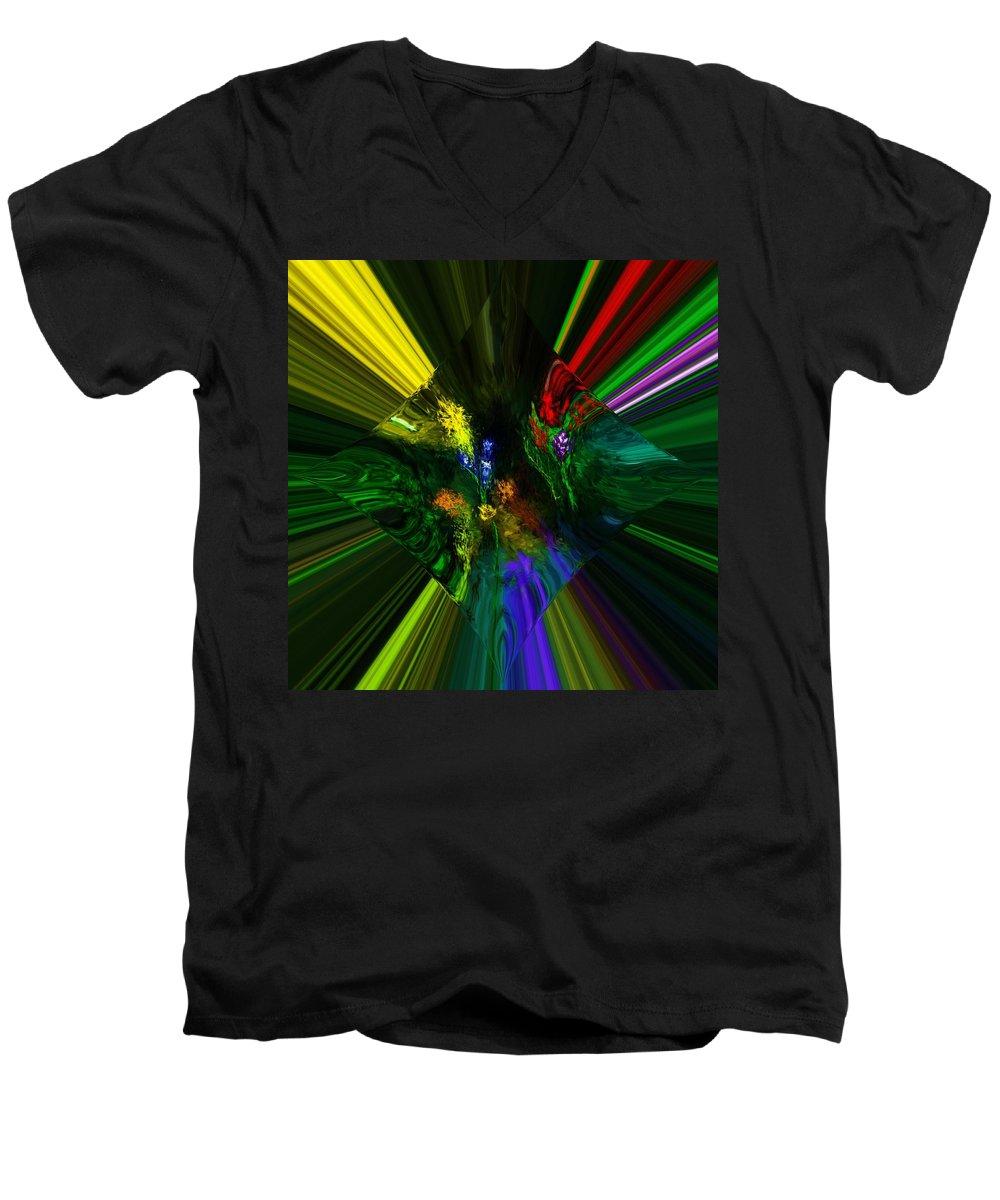 Digital Painting Men's V-Neck T-Shirt featuring the digital art Abstract Garden by David Lane
