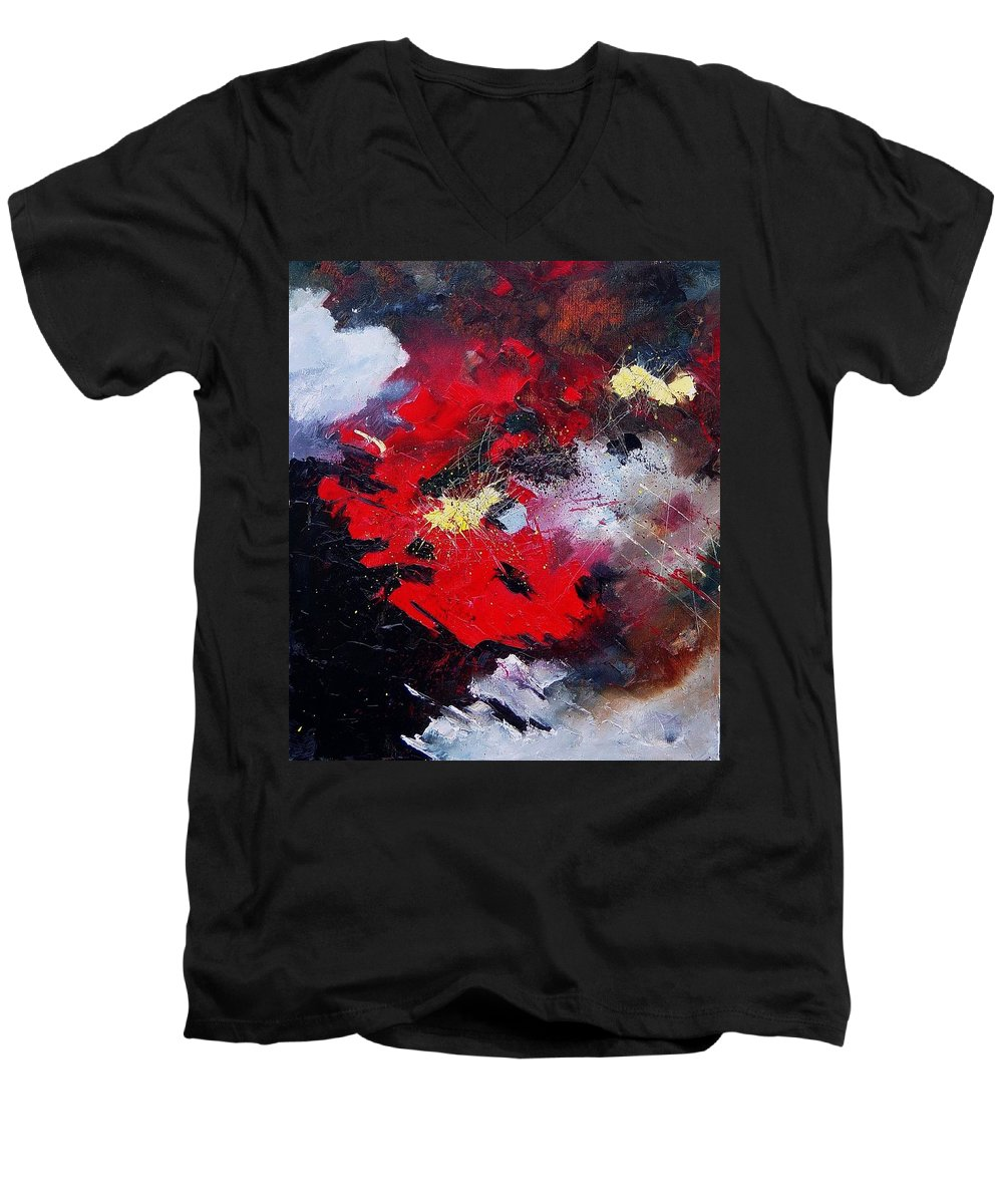 Abstract Men's V-Neck T-Shirt featuring the painting Abstract070406 by Pol Ledent
