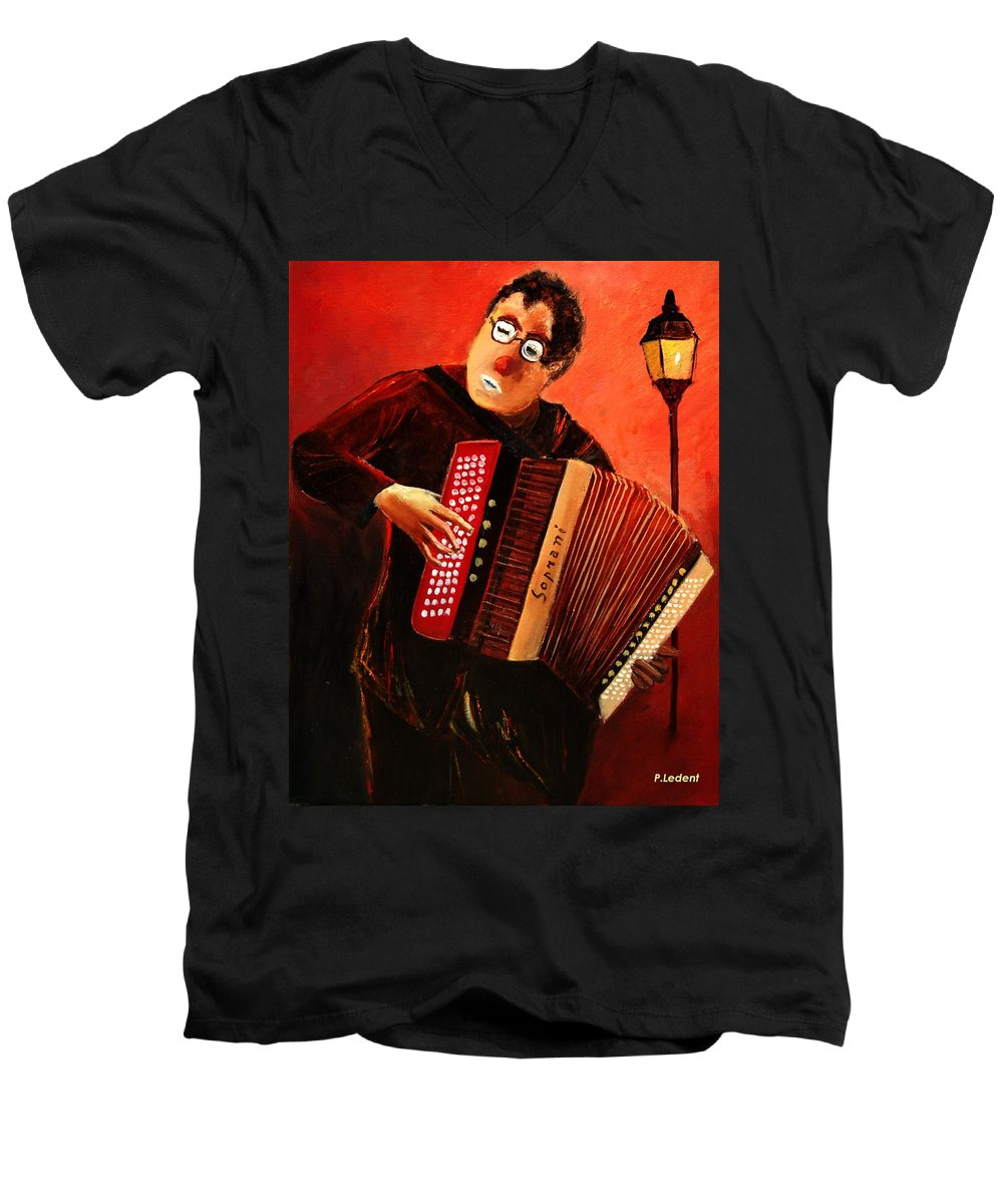 Music Men's V-Neck T-Shirt featuring the print Accordeon by Pol Ledent