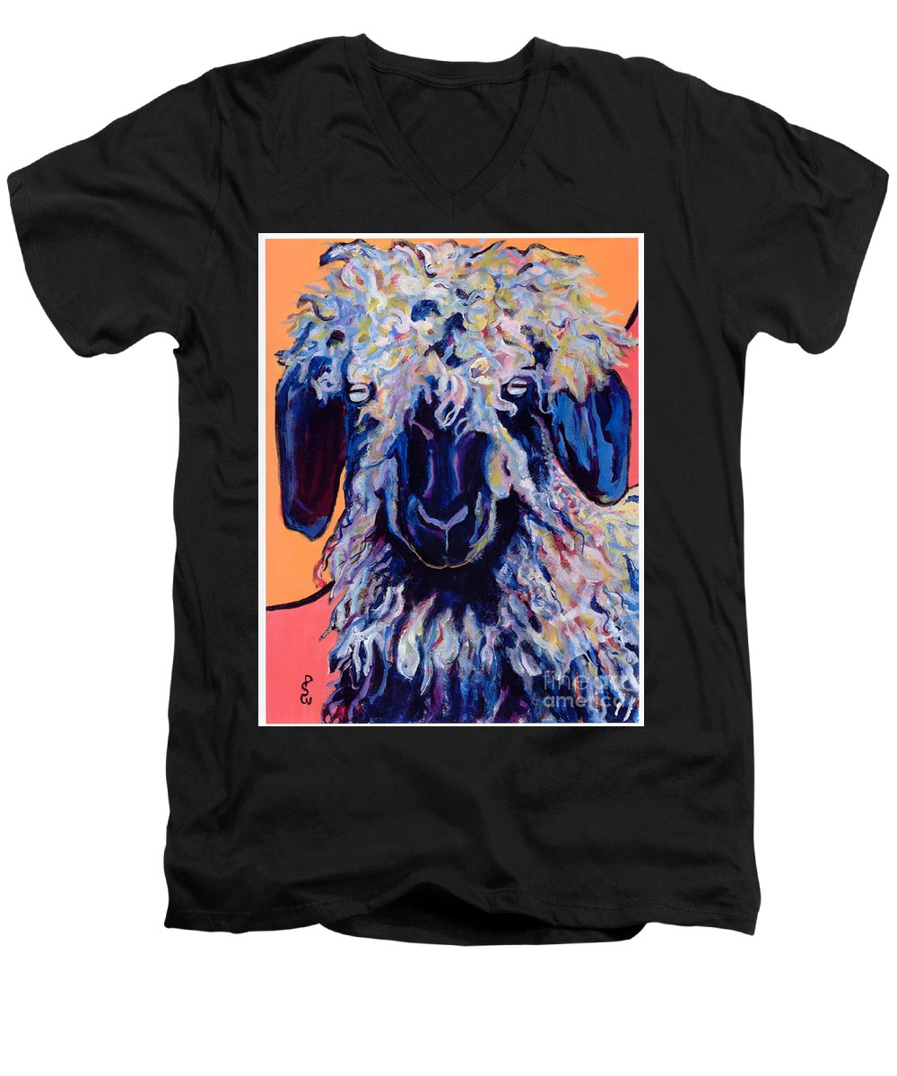 Goat Print Men's V-Neck T-Shirt featuring the painting Adelita  by Pat Saunders-White
