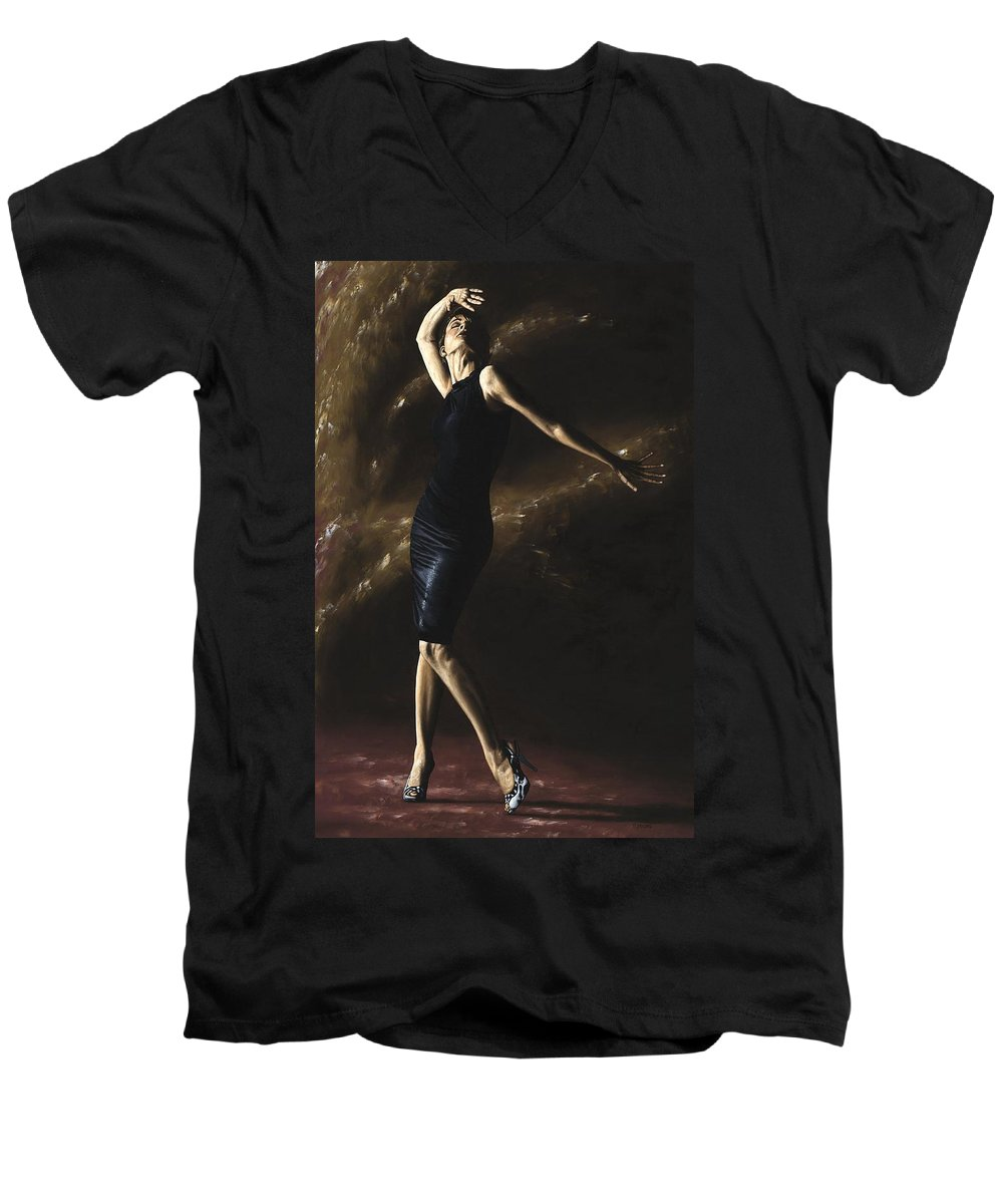 Dance Men's V-Neck T-Shirt featuring the painting After The Dance by Richard Young