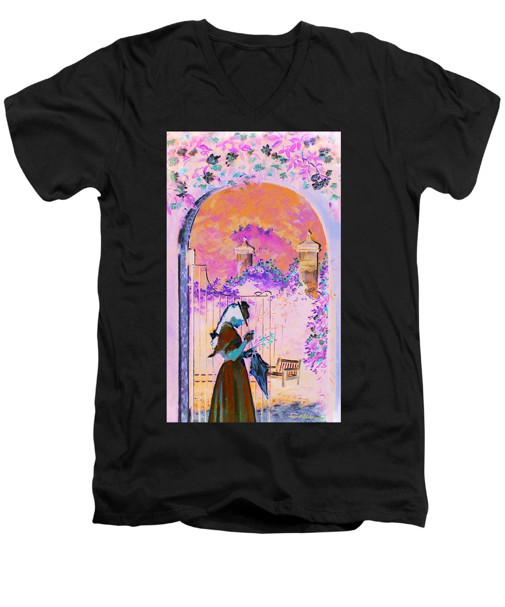 Rose Men's V-Neck T-Shirt featuring the painting Afternoon Stroll by Jean Hildebrant