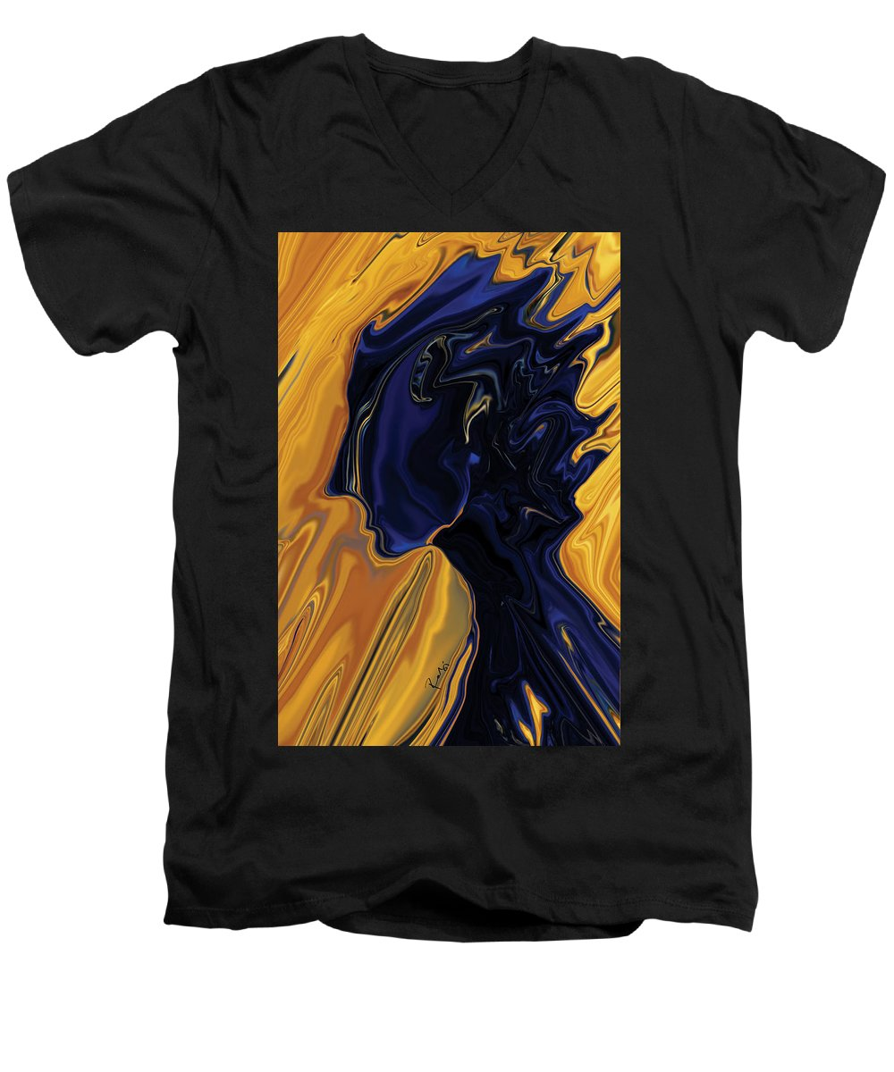 Abstract Men's V-Neck T-Shirt featuring the digital art Against The Wind by Rabi Khan