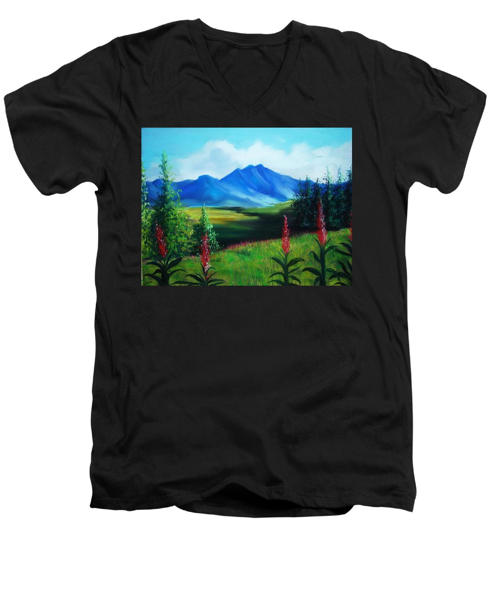 Alaska Men's V-Neck T-Shirt featuring the pastel Alaska by Melinda Etzold