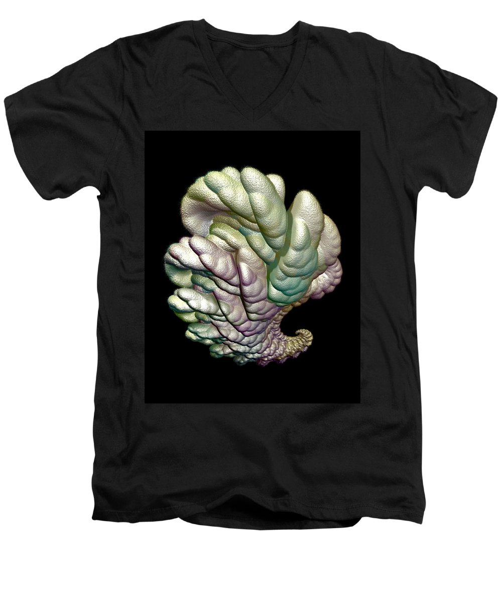 Fractal Men's V-Neck T-Shirt featuring the digital art Alien Brain by Frederic Durville