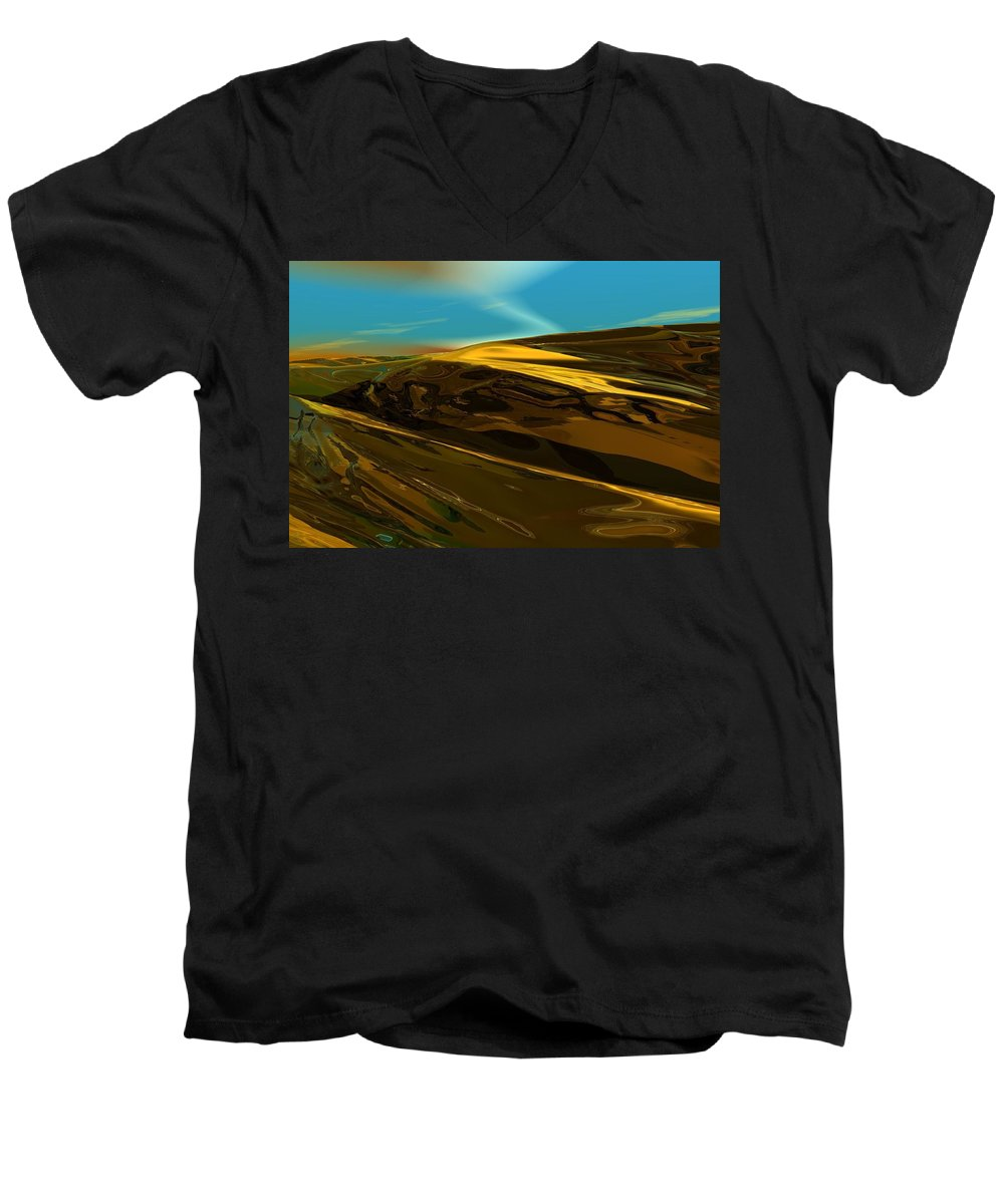 Landscape Men's V-Neck T-Shirt featuring the digital art Alien Landscape 2-28-09 by David Lane
