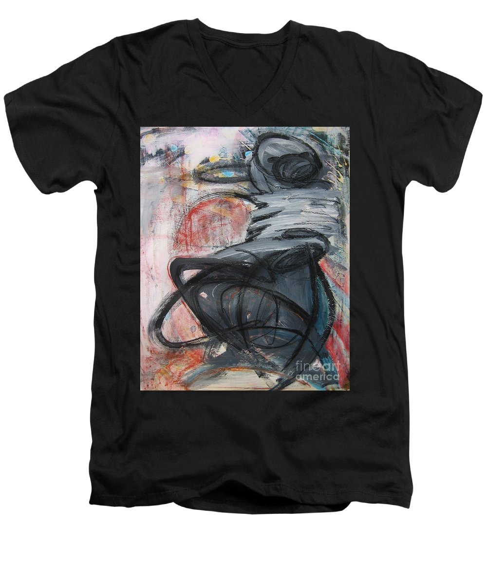 Abstract Paintings Paintings Men's V-Neck T-Shirt featuring the painting All Alone by Seon-Jeong Kim