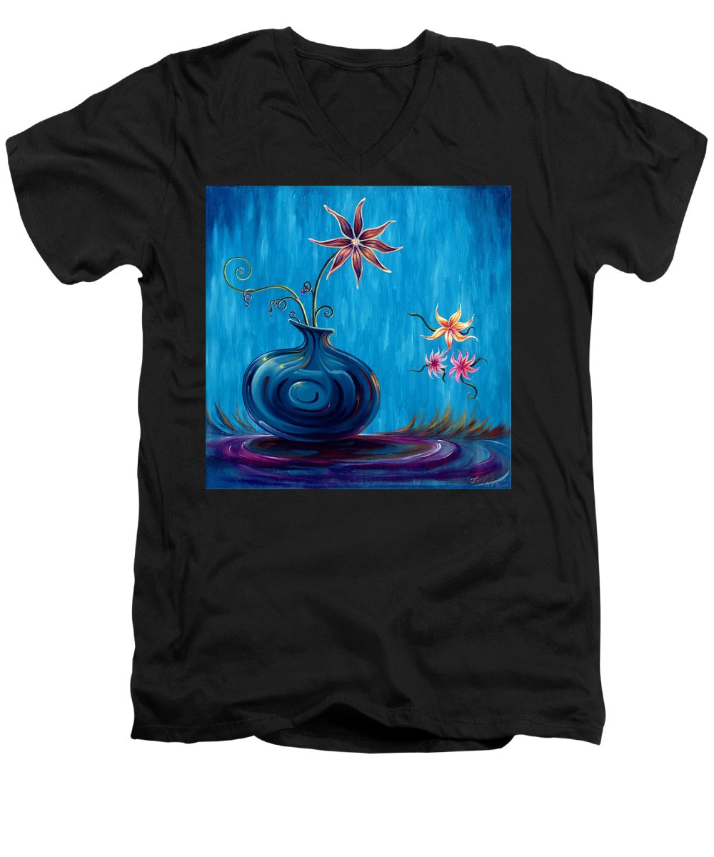 Fantasy Floral Scape Men's V-Neck T-Shirt featuring the painting Aloha Rain by Jennifer McDuffie