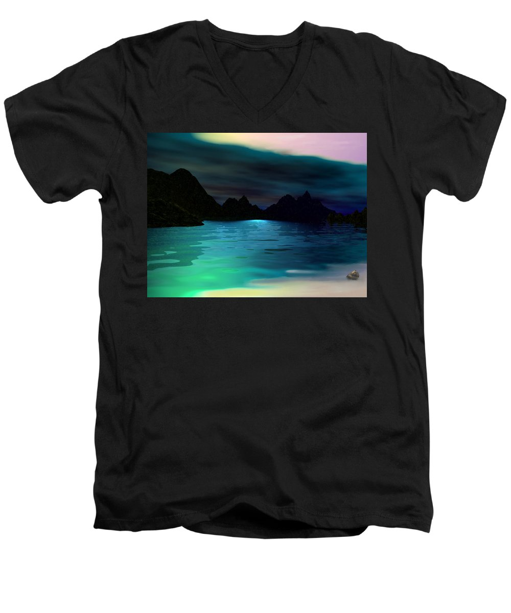 Seascape Men's V-Neck T-Shirt featuring the digital art Alone On The Beach by David Lane