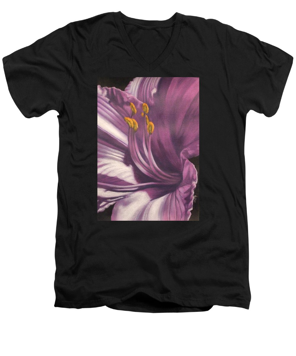 Floral Men's V-Neck T-Shirt featuring the mixed media Amethyst by Barbara Keith