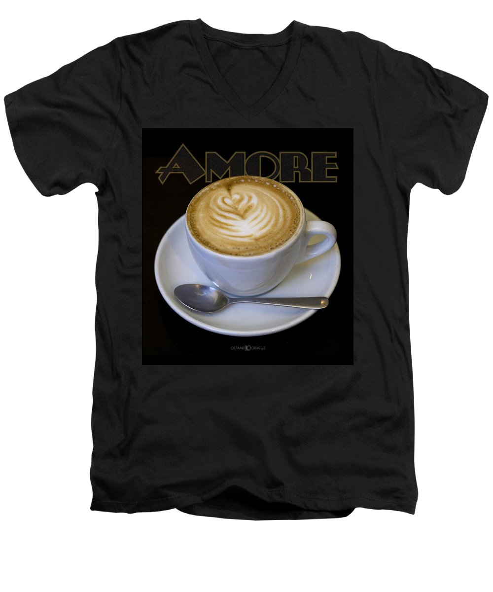Coffee Men's V-Neck T-Shirt featuring the photograph Amore Poster by Tim Nyberg